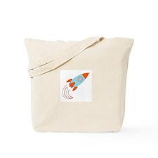 Blue and Orange Rocket Ship Tote Bag