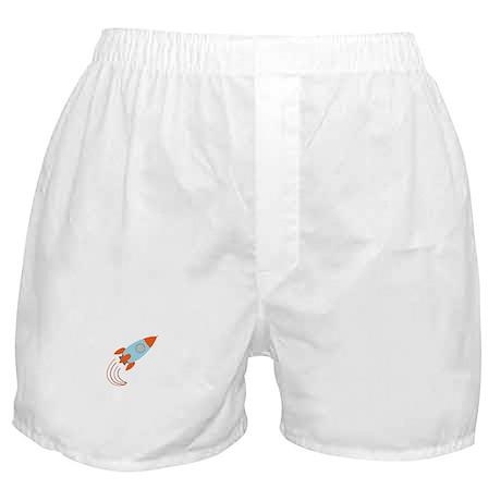 Blue and Orange Rocket Ship Boxer Shorts