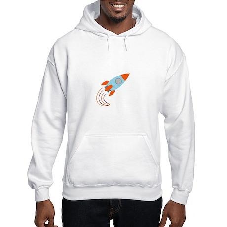 Blue and Orange Rocket Ship Hooded Sweatshirt