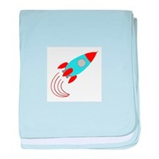 Blue and Orange Rocket Ship baby blanket