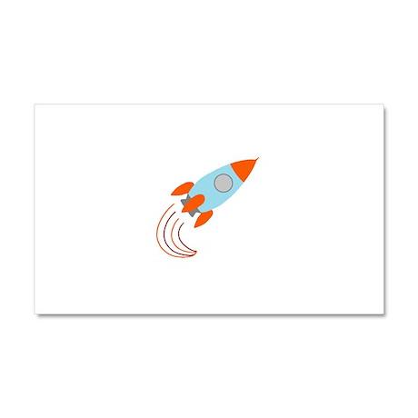 Blue and Orange Rocket Ship Car Magnet 20 x 12