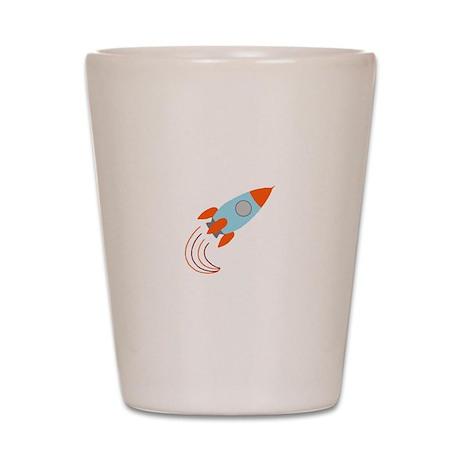 Blue and Orange Rocket Ship Shot Glass