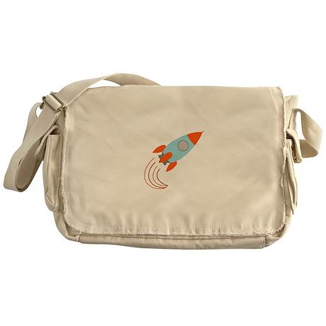 Blue and Orange Rocket Ship Messenger Bag