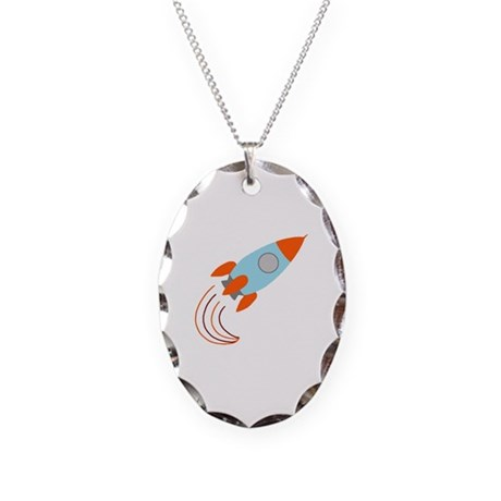 Blue and Orange Rocket Ship Necklace Oval Charm