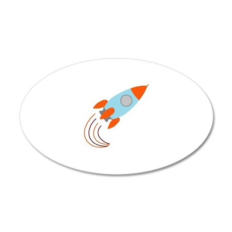 Blue and Orange Rocket Ship 38.5 x 24.5 Oval Wall