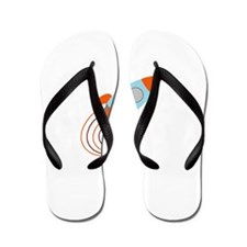 Blue and Orange Rocket Ship Flip Flops