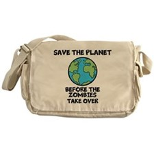 Save the Planet / Zombies Messenger Bag