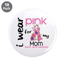 """I Wear Pink 43 Breast Cancer 3.5"""" Button (10 pack)"""
