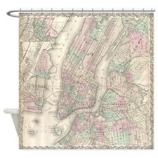 New York City Antique Map Shower Curtain