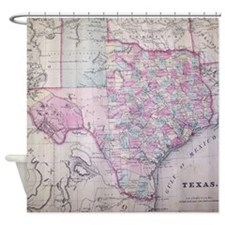 Texas Antique Map Shower Curtain