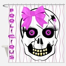 Pink Girl Scull Shower Curtain