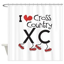 I heart Cross Country Running Shower Curtain