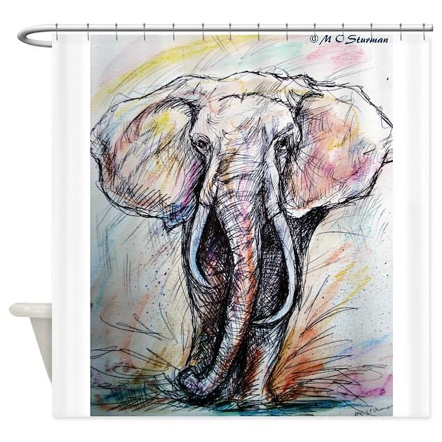 Elephant Wildlife Art Shower Curtain By Mcelephant5