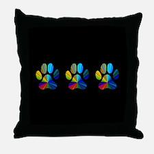 3 PAWS ON BLACK Throw Pillow