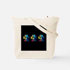 3 PAWS / 3 PAWS ON BLACK Tote Bag