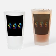 3 PAWS ON BLACK Drinking Glass