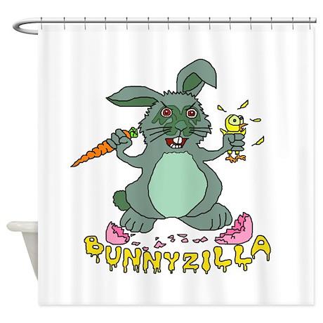 Bunnyzilla Easter Bunny Shower Curtain