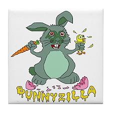 Bunnyzilla Easter Bunny Tile Coaster