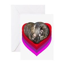 Ferrets Curled in Heart BLANK Greeting Card