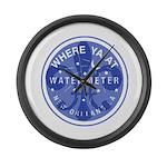 Where Ya At Water Meter Large Wall Clock