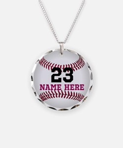 Baseball Player Name Number Necklace Circle Charm