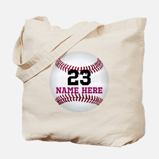 Baseball Player Name Number Tote Bag