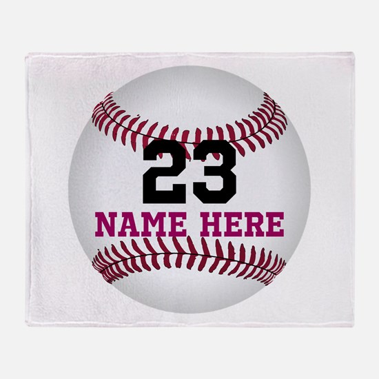 Baseball Player Name Number Throw Blanket