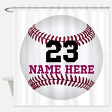 Baseball Player Name Number Shower Curtain