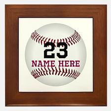 Baseball Player Name Number Framed Tile