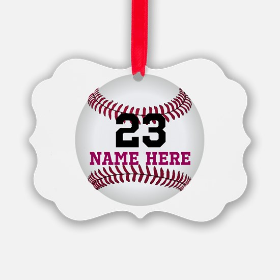 Baseball Player Name Number Ornament