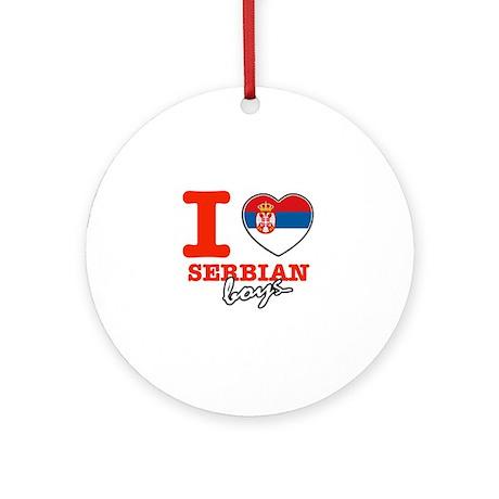 I love Serbian Boys Ornament (Round)