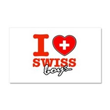 I love Swiss Boys Car Magnet 20 x 12