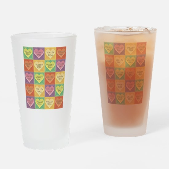 Volleyball Hearts Drinking Glass
