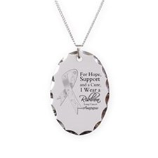 Lung Cancer Ribbon Necklace Oval Charm