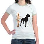 Grunge Great Dane Silhouette Jr. Ringer T-Shirt