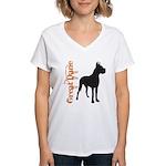Grunge Great Dane Silhouette Women's V-Neck T-Shir