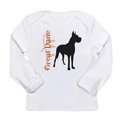 Grunge Great Dane Silhouette Long Sleeve Infant T-