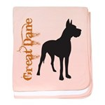 Grunge Great Dane Silhouette baby blanket