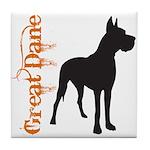 Grunge Great Dane Silhouette Tile Coaster