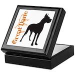 Grunge Great Dane Silhouette Keepsake Box