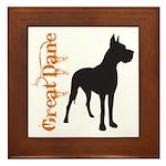 Grunge Great Dane Silhouette Framed Tile