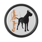 Grunge Great Dane Silhouette Large Wall Clock