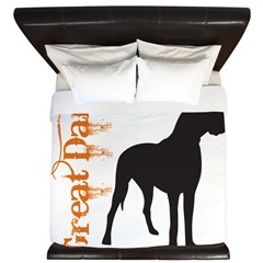 Grunge Great Dane Silhouette King Duvet