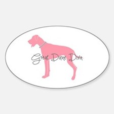 Diamonds Great Dane Diva Sticker (Oval)
