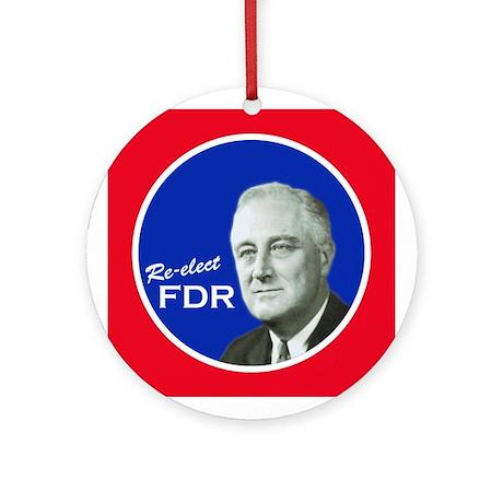 RE-ELECT FDR CAMPAIGN BUTTON Ornament (Round)