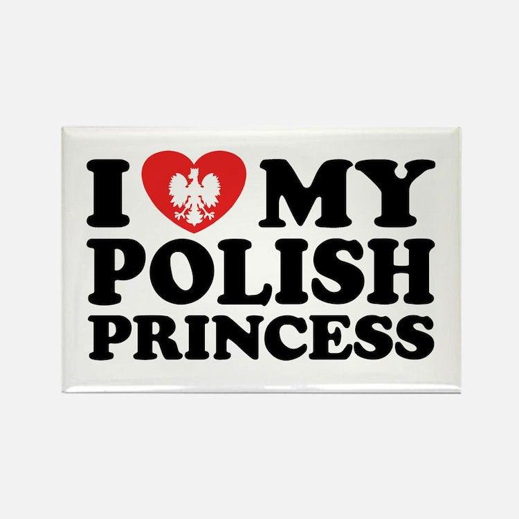 I Love My Polish Princess Rectangle Magnet