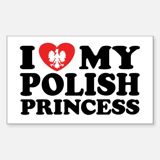 I Love My Polish Princess Rectangle Decal