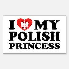 I Love My Polish Princess Rectangle Stickers