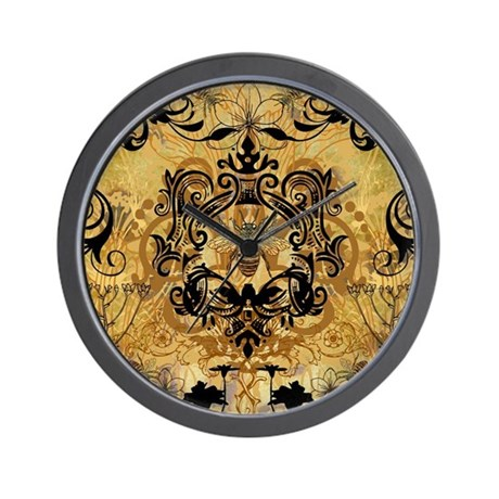 Golden Bee Garden Wall Clock