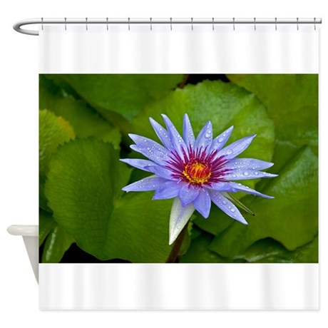 Rain Drenched Blue Lotus Shower Curtain